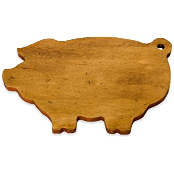 J.K. Adams 14-Inch-by-9-Inch Maple Wood Cutting Board, Pig-Shaped