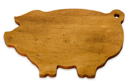 J.K. Adams 14-Inch-by-9-Inch Maple Wood Cutting Board, Pig-Shaped made in New England