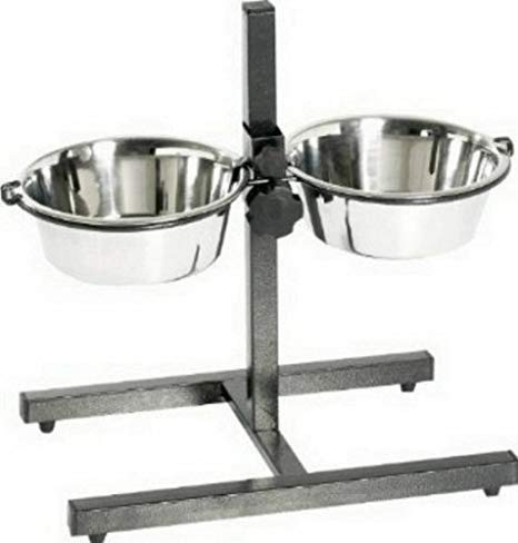 King International Super Dog Adjustment Feeding Stand U Type with 2 Bowls H-Base Double Bowl Stand Two Stainless Steel Removable Bowls Extra Large Diameter Provides Enough Space for Several Puppies