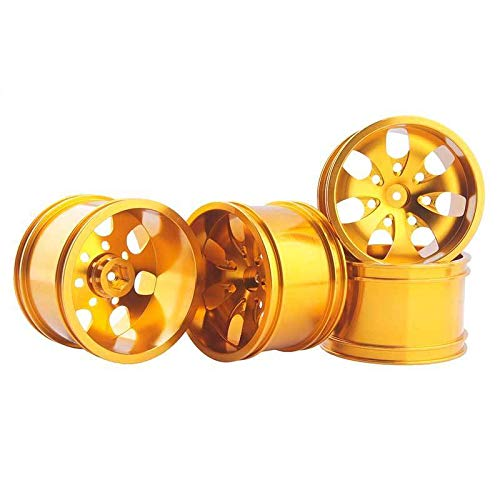 Toyoutdoorparts RC 08008N Alumiunm Gold Wheels 4pcs for RedCat 1:10 Nitro Volcano S30 Truck