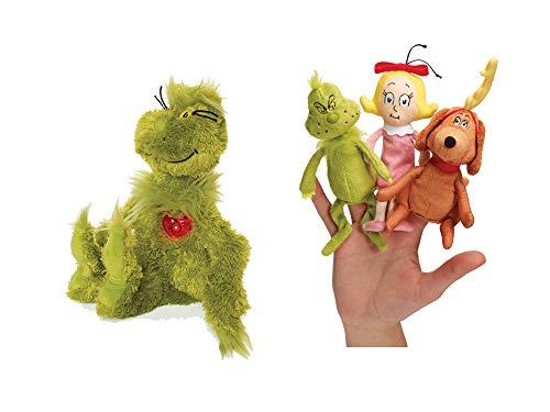 Manhattan Toy Dr. Seuss Grinch Bundled with Light Up Heart Plush with Dr. Seuss The Grinch Finger Puppet Set