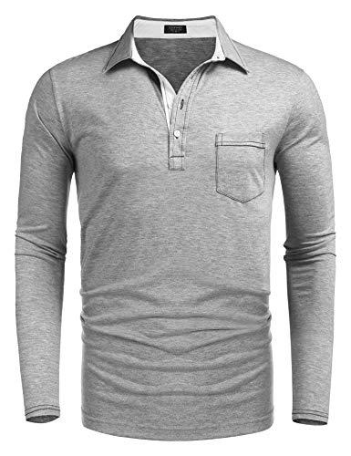COOFANDY Men's Long Sleeve Polo Shirt Slim Fit Casual Business Cotton T Shirt - Denim Shirt Sleeve Polo Long
