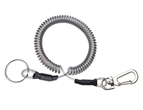 Mini Skater Fishing Coil Lanyard Fishing Tool Retractable Plastic Safe Rope Wire for Securing Fishing Pliers, Kayak, Surfing, Boating and Wading,1Pcs (Spiral Length:6 inch)