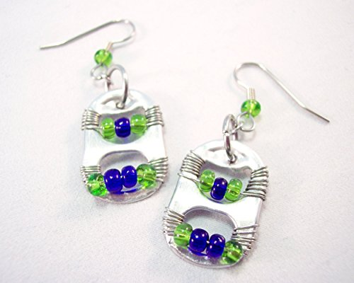 (Pop Tab Earrings Lime Green and Navy Blue)