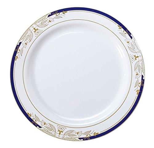 120ct-1025-white-blue-gold-design-dinner-plates-signature-blu-heavy-duty-disposable