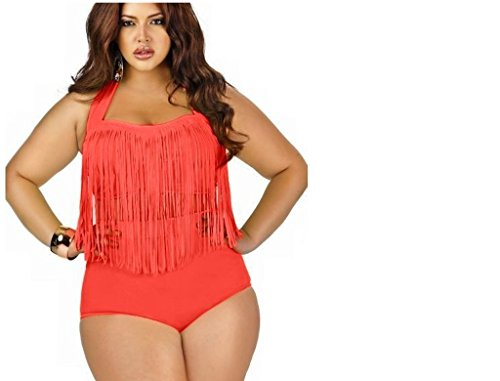 Covelin Women's Plus Size Bikini Retro High Waist Bombshell Ruched Swimsuit Orange-XL