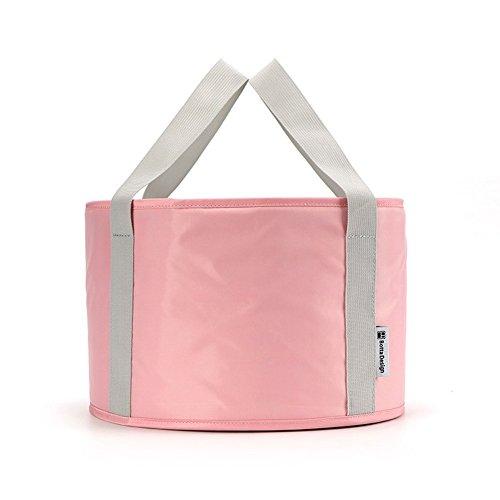 Folding Wash Basin Portable Travel Outdoor Foot Soak Bucket Heat Preservation Waterproof (Pink) - 1 Piece Drain Pouch