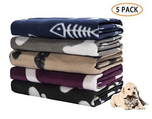 Pet Dog Blanket,Warm Dog Bed Cover Paw Print Fleece Throw Blanket for Small,Medium Dog,Cat,Puppy,Kitten,Other Small Animals,5 Pack Mixed,24