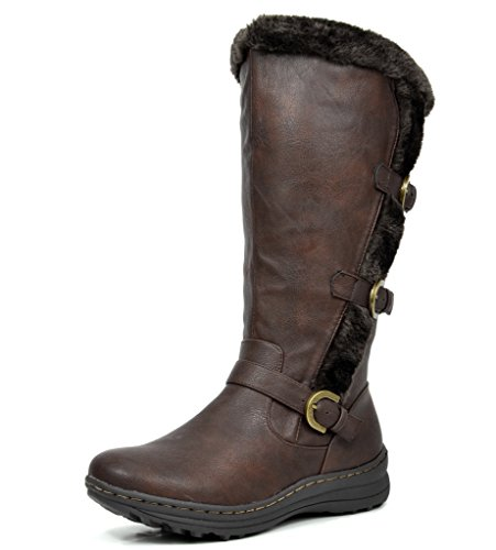 DREAM PAIRS Minx Women's Winter Fully Fur Lined Triple Buckle Ruched Snow Knee High Boots Brown PU-SZ-5