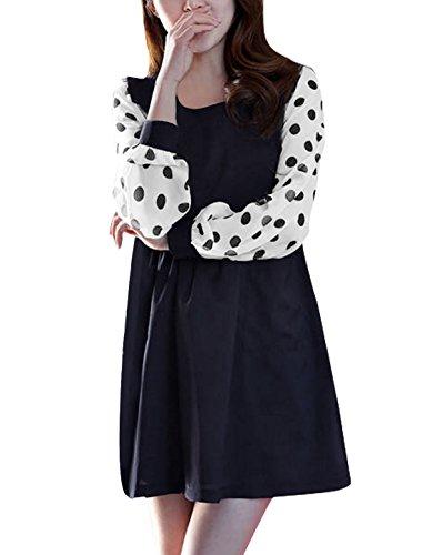 Diseño de mujer diseño de lunares Prints cuello redondo Jersey Mini de manga larga para de entalle amplio y e instrucciones para hacer vestidos azul oscuro