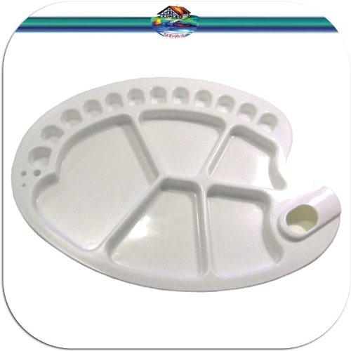 Mischpalette GROSS oval mit 12 kleinen und 5 gro/ßen Mulden Farbmischpalette Malpalette f/ür Acrylfarben Temperafarben etc.