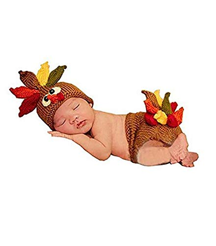 Lppgrace Photography Prop Baby Infant Costume Turkey Crochet Knitted Hat Diaper Brown (Crochet Costume Baby)