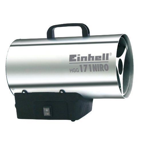 Einhell Gas Heizgebläse HGG 171 Niro (Heizleistung bis 17 kW, 500 m³/h Luftdurchsatz, für handelsübliche Gasflaschen, rostfreies Stahlblech Gehäuse,  Piezozündung, Druckregler)