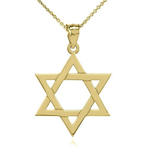 Collier Femme Pendentif Solide 10 Ct Or Jaune Juif Étoile De David (Médium) (Livré avec une 45cm Chaîne)