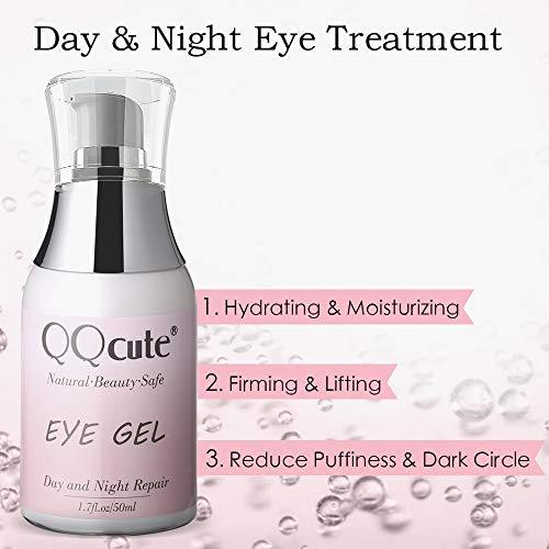 41J2D2Uy%2BkL - Eye Gel, QQcute Day & Night Anti-Aging Eye Treatment Cream for Wrinkle, Dark Circle, Fine Line, Puffy Eyes, Bags Best Hydrogel Eye Moisturizer for Women Mother's Day Gift - 1.7 fl oz.