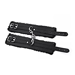Adjustable Bachelor Party PU Handcuffs Ankle Bracelets Bundled with Restraints SM Adult Blindfold & Eye Mask and Two Sexy Gaming Dice Sex Toys Set For Couples