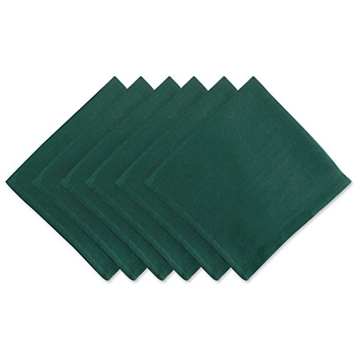 DII Oversized Cotton Cloth Herringbone Weave Napkin for Brunch, Catering Events, Dinner Parties, Wedding Or Everyday Use, (Set of 6, 20x20), Dark Green, 6 Piece (Cloth Napkins Chevron)