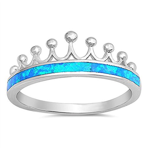 Blue Simulated Opal Crown Tiara Princess Ring New .925 Sterling Silver Band Size 6 ()