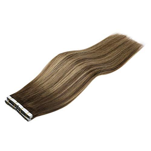 Sunny 14inch #4/27/4 Balayage Tape in Hair Extensions Dark Brown Mixed Caramel Blonde Dip Dyed Hair Extensions Adhesive Tape in Remy Human Hair Extensions 50g 20pcs
