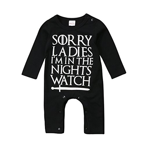 Newborn Baby Boys Girls Sorry Ladies Im In The Nights Watch Romper Long Sleeve Jumpsuit (12-18 Months)