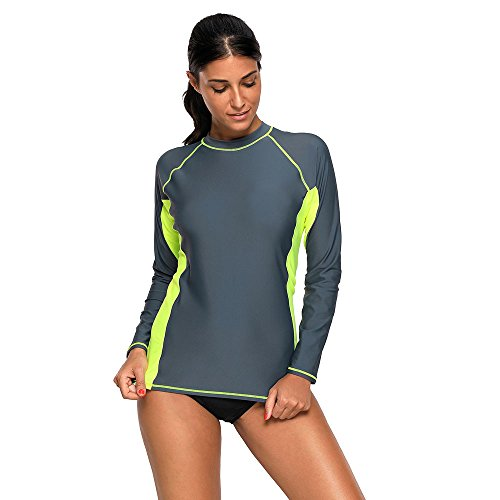 Lovinni Women's Grey Black Long Sleeve Tankini Swim - Air Day Mean Next Shipping