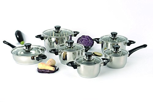 Berghoff - Stainless Steel Studio Cookware Set with Vision Premium Glass Lids - 12 pieces by Berghoff