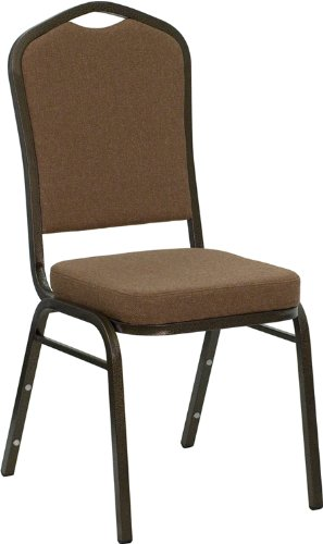 (Flash Furniture HERCULES Series Crown Back Stacking Banquet Chair in Coffee Fabric - Gold Vein)