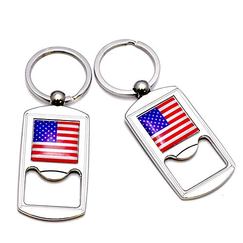 12pcs US Flag Metal Key Ring Bottle Opener Key Chain USA NYC Souvenirs Statue of Liberty - Set of 12 (A33)