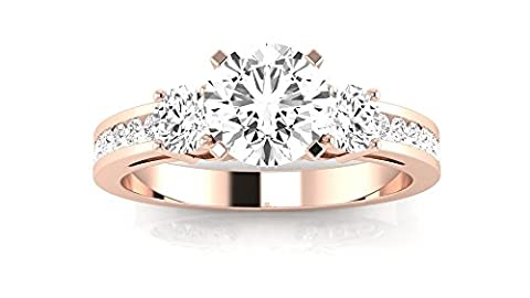 1.05 Carat t.w. 14K Rose Gold Round Channel Set 3 Three Stone Diamond Engagement Ring K VS1-VS2 Clarity Center - 3 Stone Four Prong Ring