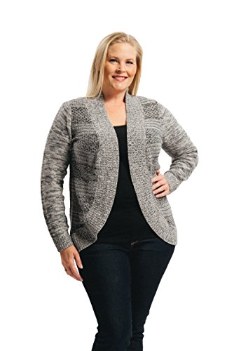 Arpeggio Women's Plus Curve Texture Stripe Cardi 2X Black/Grey