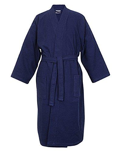 100% Turkish Cotton Men Waffle Kimono Robe (Navy Blue, One Size)