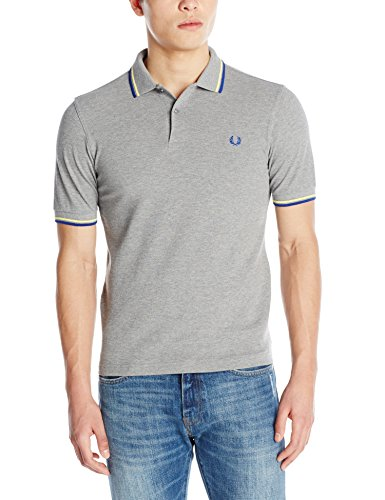 Fred Perry Men's Slim Fit Twin Tipped Polo Shirt, Steel Marl/Soft Yellow/Regal, Large