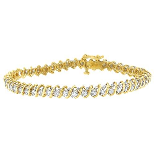 Original Classics 18K Yellow Gold Round Cut Diamond Spiral Link Bracelet (2.00 cttw, I-J Color, I1-I2 ()