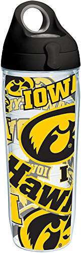 (Tervis 1258254 Ncaa Iowa Hawkeyes All Over Water Bottle With Lid 24 oz Clear)