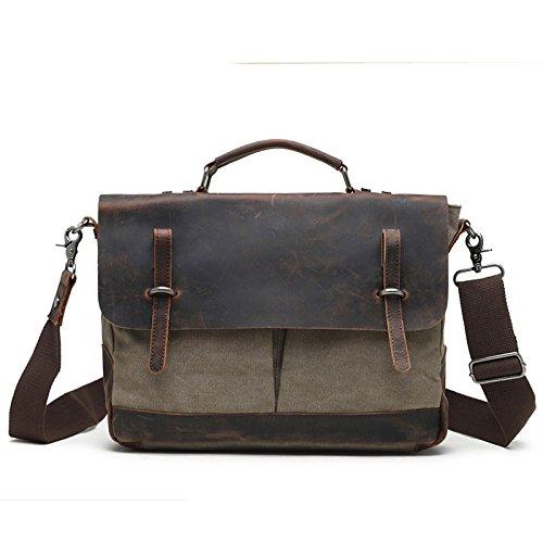 mefly con los nuevos hombres de bolso de mano bolsa de lona vintage bolsa de diagonal maletín, café Army green