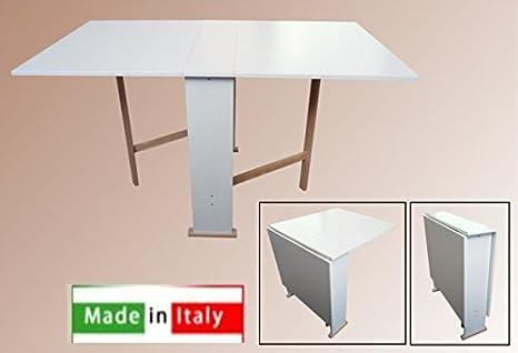 Tavolo Pieghevole Bianco : Tavolo in legno richiudibile pieghevole bianco mod susanna