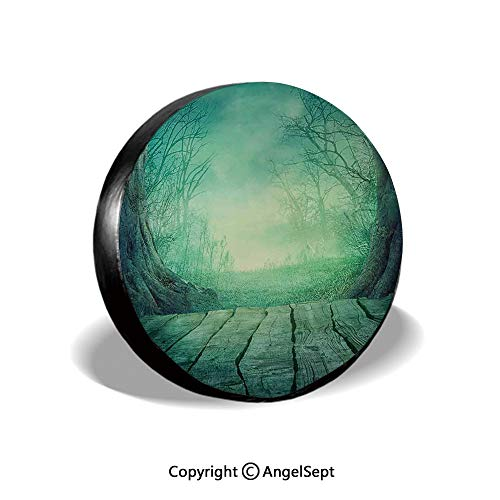 Spare Tire Cover,Spooky Scary Dark Fog Forest with Dead Trees and Wooden Table Halloween Horror Theme Print,Blue,for Jeep Trailer RV SUV Truck Camper Travel Trailer Accessories,17 Inch