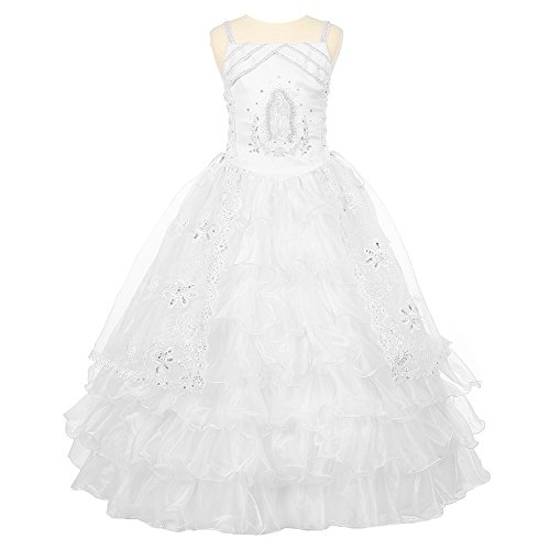 Rain Kids Big Girls White Rhinestone Virgin Mary First Communion Dress 8 by The Rain Kids