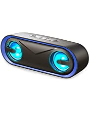 LENRUE Bluetooth Speaker with Lights, IPX5 Waterproof Portable Speaker, Wireless Speakers 24H Playtime, Loud Stereo Sound, Built-in Mic, Support Micro SD Card, for PC/Cell Phones