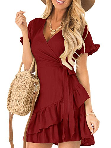 (Kathemoi Womens Ruffle Dresses Summer Cute V Neck Short Sleeve Beach Wrap Mini Dress Wine-red)