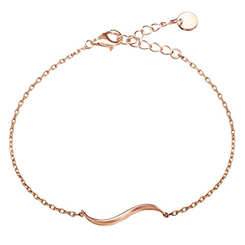 S.Leaf Delicate Bracelet Sterling Silver Simple Wave Bracelet Dainty Jewelry (rose gold) (Wave Bracelet Gold White)