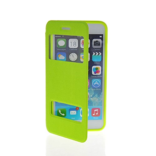 MOONCASE Coque en Cuir Portefeuille Housse de Protection Étui à rabat Case pour Apple iPhone 6 Plus Vert