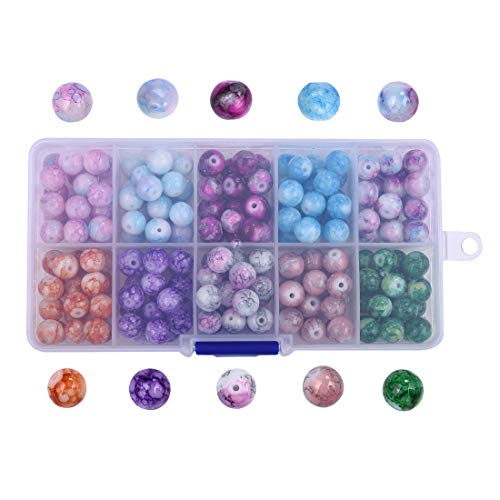 200Pcs Mix Artistic Marble Design Lampwork Glass Round Beads Various Color Round Loose Beads for Jewelry Making Craft 8mm No.1