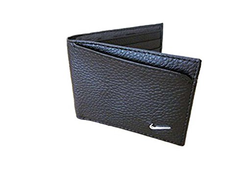 7cdea04309 Galleon - Mens Nike Bill Fold Black Leather Wallet Metal Swoosh