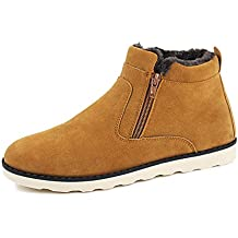 Leader show Men's Winter Fur Lined Snow Boot Side Zipper Ankle High Warm Shoe