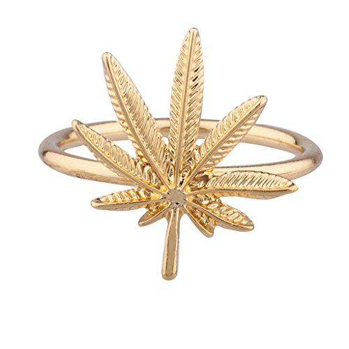 Lux Accessories Goldtone Marijuana Weed Ring