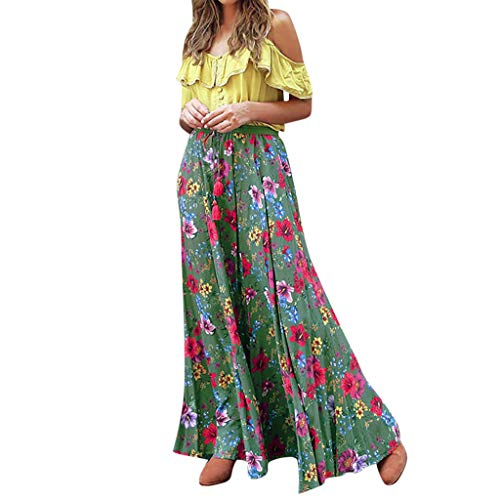 Respctful✿ Womens Spaghetti Strap Tank top Crop Top Midi Skirt Outfit Two Piece Boho Maxi Dress Green