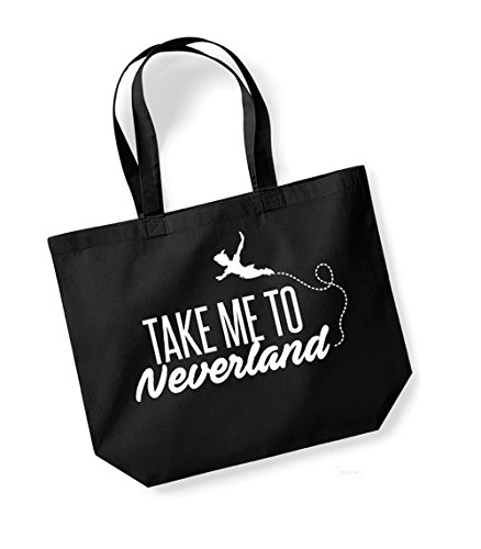 Take Me To Neverland - Large Canvas Fun Slogan Tote Bag Black/White