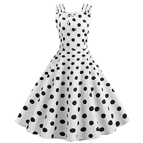 Women's Retro Vintage 1950s Classy Rockabilly Polka Dot Tea Dress Fancy Cocktail Party Swing Dress Bridesmaid Wedding Formal Prom Dress Evening Gown Long Maxi Dress