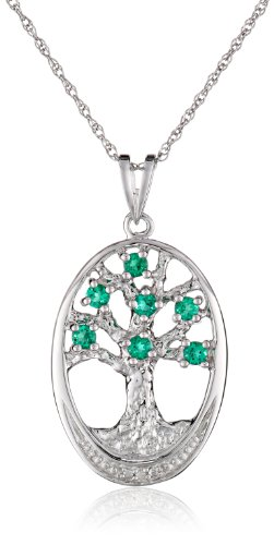 (Sterling Silver Created-Emerald and Diamond Accent Oval Tree of Life Pendant Necklace, 18